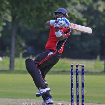 Ramesh pulls for a boundary