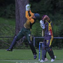 Wahid Masoud gets his bat out of the way