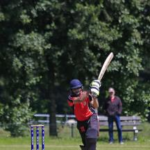 Sahil Kothari skies the ball
