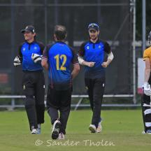 Luuk Kroesen is out caught behind first ball of the innings