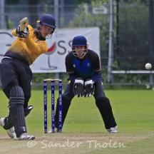 Roel Verhagen lofts a cover drive