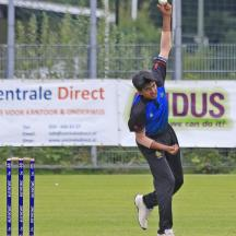 Umesh Nashier bowling from the City End