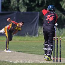 Masood breaks through Ronan Malik's defence