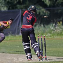Van Wengerden is bowled by Masood