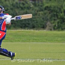 Ali Ahmed Qasim is bowled on a free hit