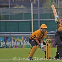 Shankar scores a boundary over midwicket