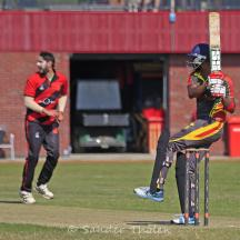 Sudeep Raju pulls for a boundary