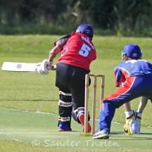 Usman Saleem clips the ball to leg